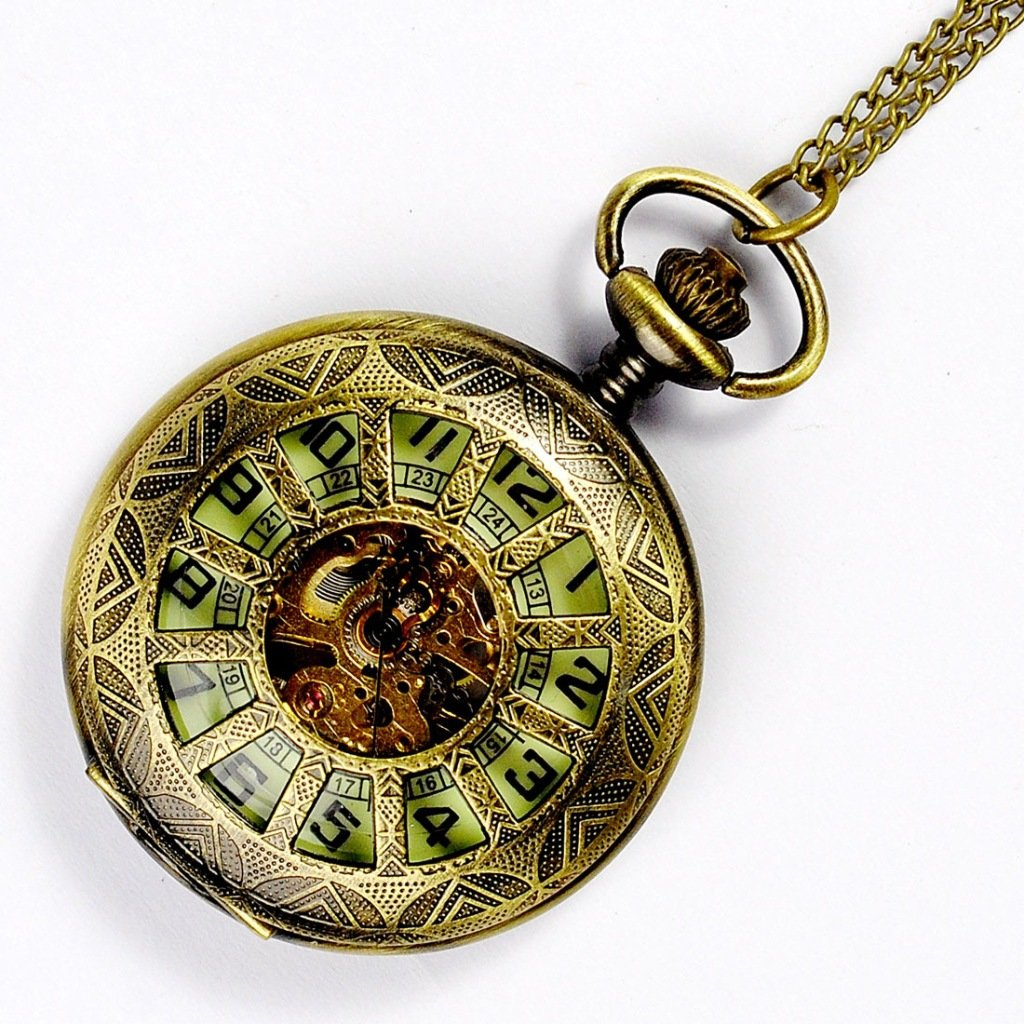 Deluxe Wheel Style Steampunk Luminous Watch, Mechanical Movement Hand Wind Pocket Watch, Antiqued Bronze Half Hunter Watch with Chain