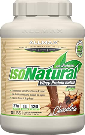 ALLMAX Nutrition Isonatural Whey Protein Isolate, Chocolate, 5 lbs