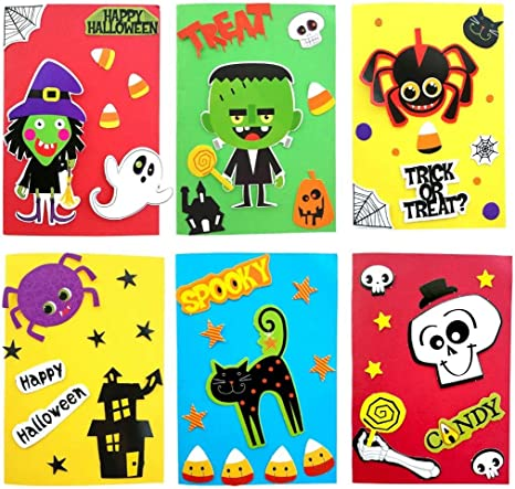 Amazon Com Halloween Greeting Cards Card Making Kit Diy Handmade Art Crafts Supplies Set For Kids Girl Boy Party Invitation Card For Friends And Relatives Make 6 6 Envelopes 6 Trick Or Treat Goodie