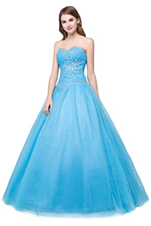 Cloverdresses Sweetheart Long Blue Prom Dresses Juniors Quinceanera Dresses Ball Gowns (2, Blue)