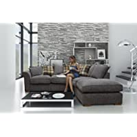 Hugo Corner Sofa Set Including Detachable Footstool (Charcoal, Right Hand-Scatter Back)