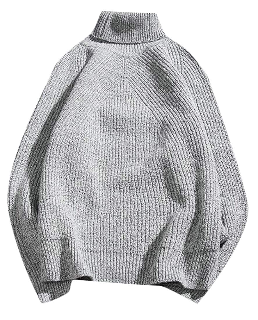 XiaoTianXinMen XTX Mens Knitted Padded High Neck Autumn Pullover Jumper Sweaters