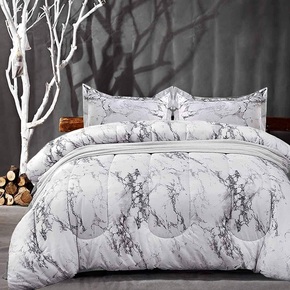 NANKO Comforter Set King Size, White Marble Print 104 x 90 inch Reversible Down Alternative Comforter Microfiber Duvet Sets (1 Comforter + 2 Pillow) Best Modern Bedding for Women Men,Gray Grey