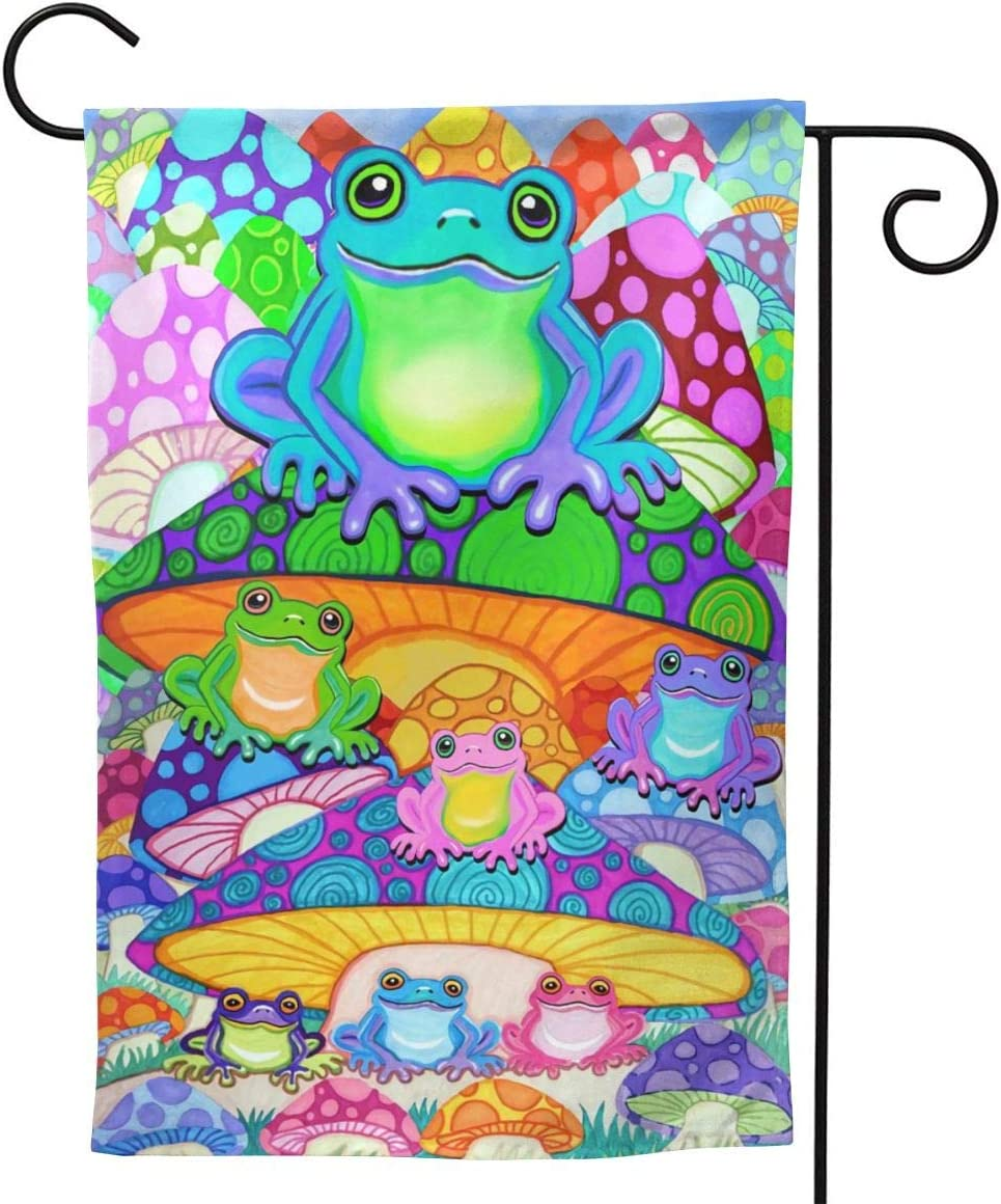 YISHOW Psychedelic Mushrooms Frog Garden Flag Double Sided Vertical House Flags Psychedelic Mushrooms Frog Yard Signs Outdoor Decor 12.5 X 18 Inch
