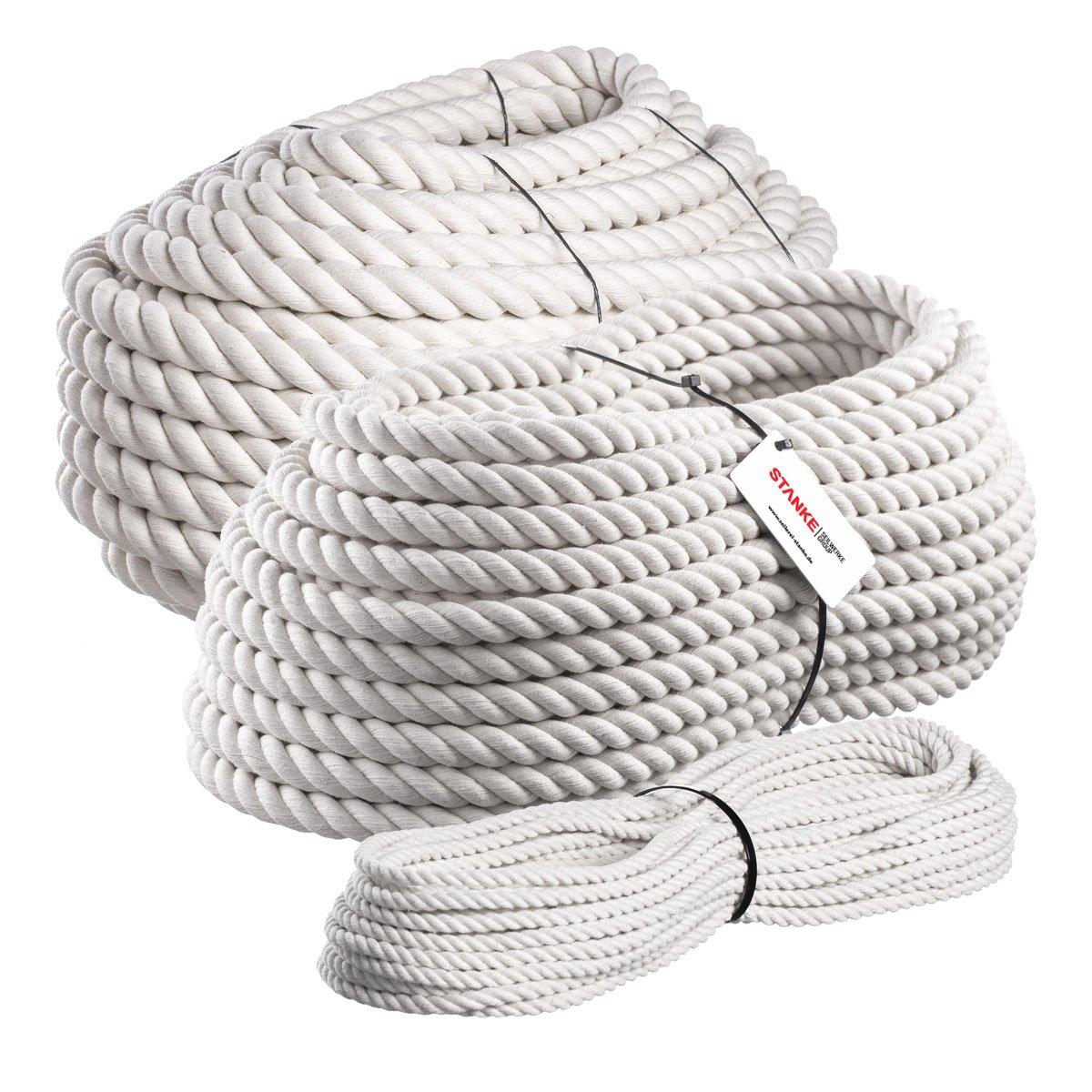 Seilwerk STANKE 50 m Cuerda de algodó n 8 mm fibras naturales rizada aparejo