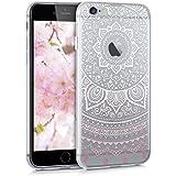 kwmobile Étui transparent en TPU silicone pour Apple iPhone 6 / 6S en rose clair blanc transparent Design Soleil indien