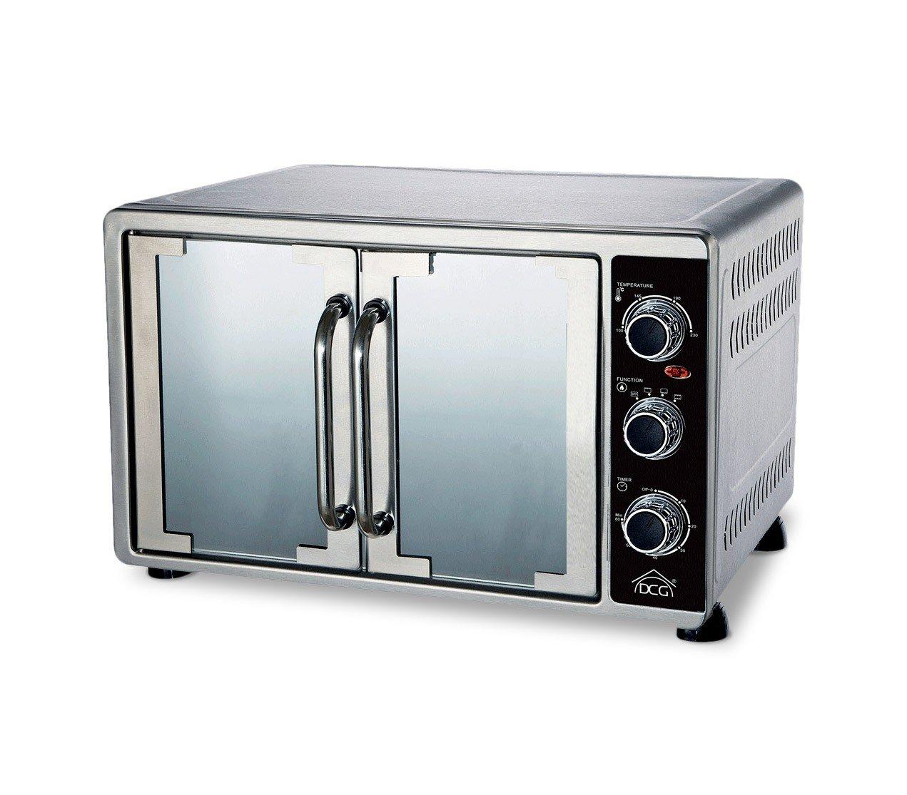 Forno elettrico doppia porta MBS58 DCG 2200 W ventilato 58LT timer luce acciaio. MEDIA WAVE store ®