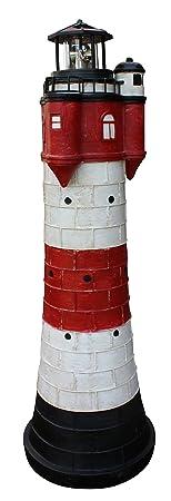 Fachhandel Plus Leuchtturm Roter Sand mit LED Solar Beleuchtung Rundum Leuchtfeuer 80cm Maritime Deko
