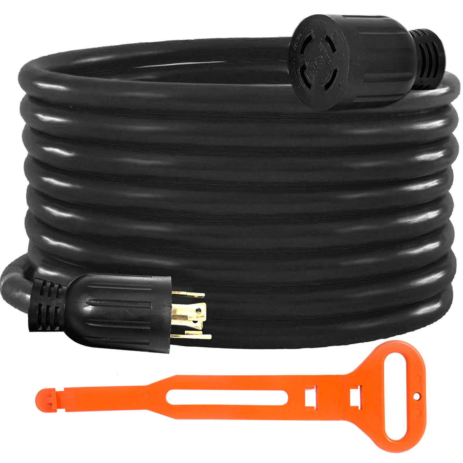 Mophorn 50FT 30 Amp Generator Extension Cord 4 Wire 10 Gauge Generator Cord 125V/250V UL Listed Generator Power Cord Twist Lock Connectors (50 FT 30 Amp)