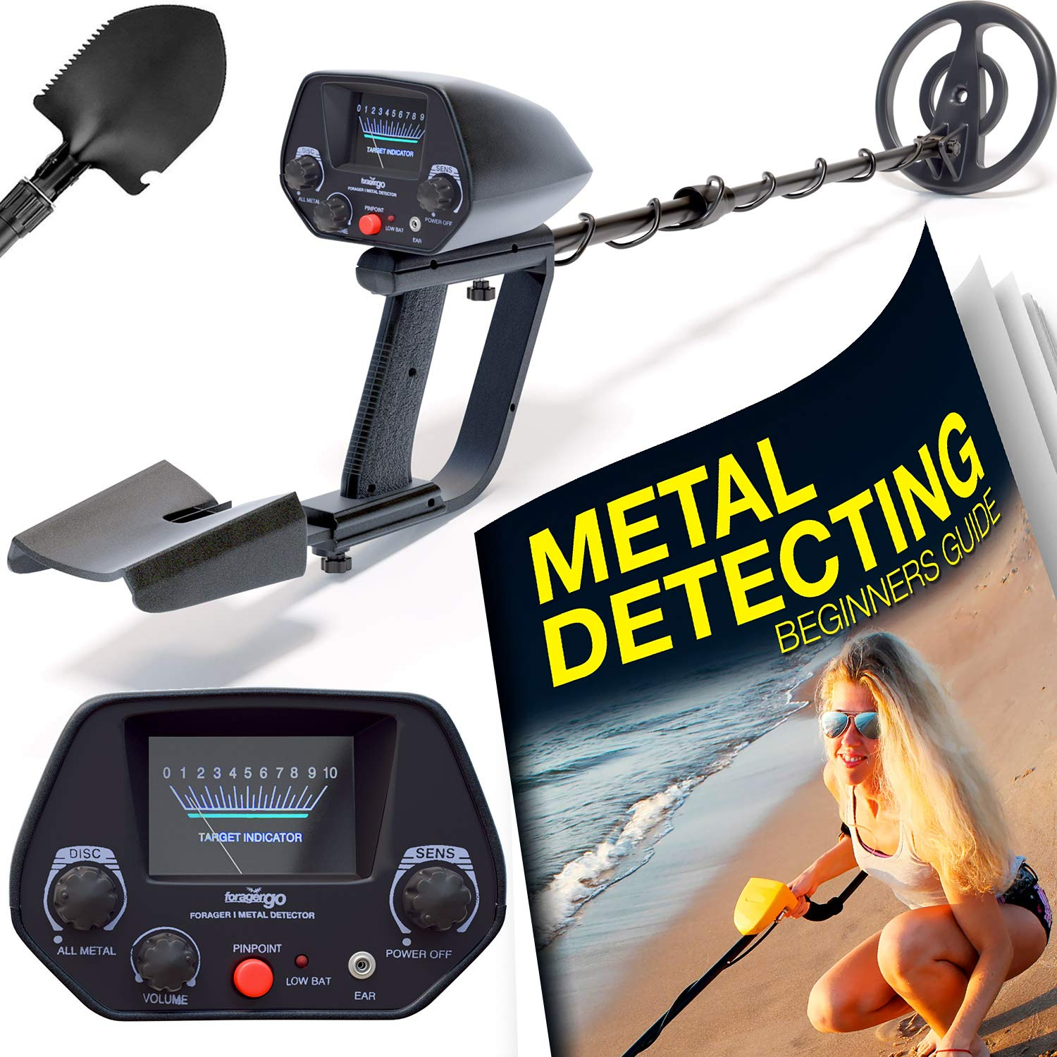 Ultimate Metal Detector For Adults – Waterproof Pro Detectors With Pinpointer For Kids – High Accuracy Professional Handheld Relic Hunter With Arm Support Folding Shovel – Perfect Present