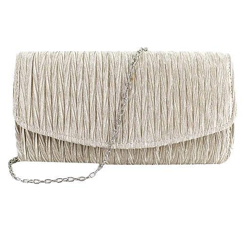 184785ec23 Buddy Women Satin Pleated Envelope Evening Clutch Wedding Party Handbag  Chain Purse Apricot