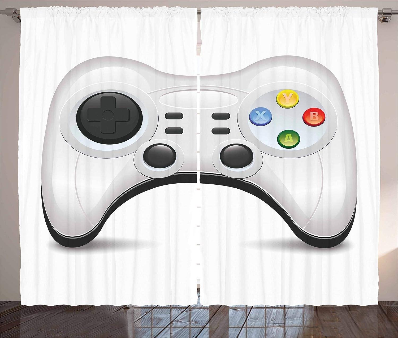 Gamerカーテンby lunarable、モダンデザインカラフルな操作ボタンと概念ゲームパッドジョイスティックおよび方向パッド、リビングルームベッドルームウィンドウドレープ2パネルセット、マルチカラー 108