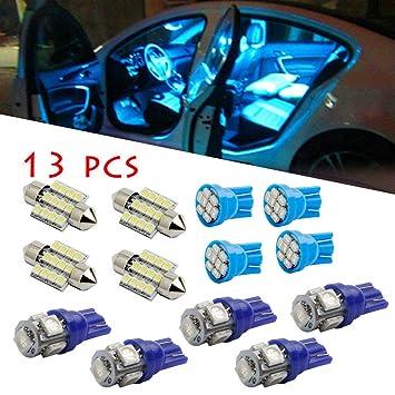 Liqiqi Juego de 13 Luces LED para Interior de Coche, Color Azul Puro