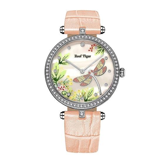 Reef tigre moda Casual reloj mujer acero blanco Mop Dial Diamantes relojes rga151