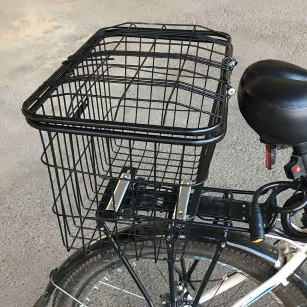 SqSYqz Cubierta En Negrita Cesta Estudiante Bicicleta Cesta Trasera Accesorios para Bicicleta Alambre En Negrita Pesaje Gravedad Fuerte con El Coche