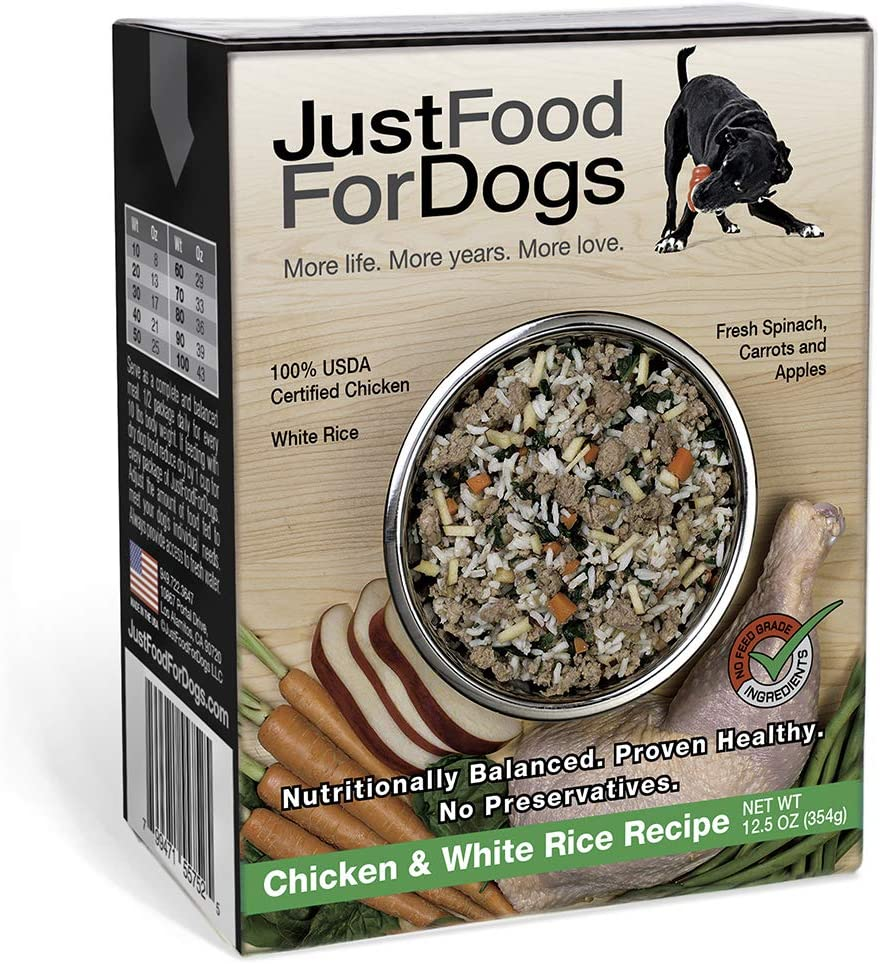 JustFoodForDogs Pantry Fresh Dog Food - Human Grade Ingredients Ready to Serve Adult Dog & Puppy Food - Chicken & Beef Flavors (Set of 6)