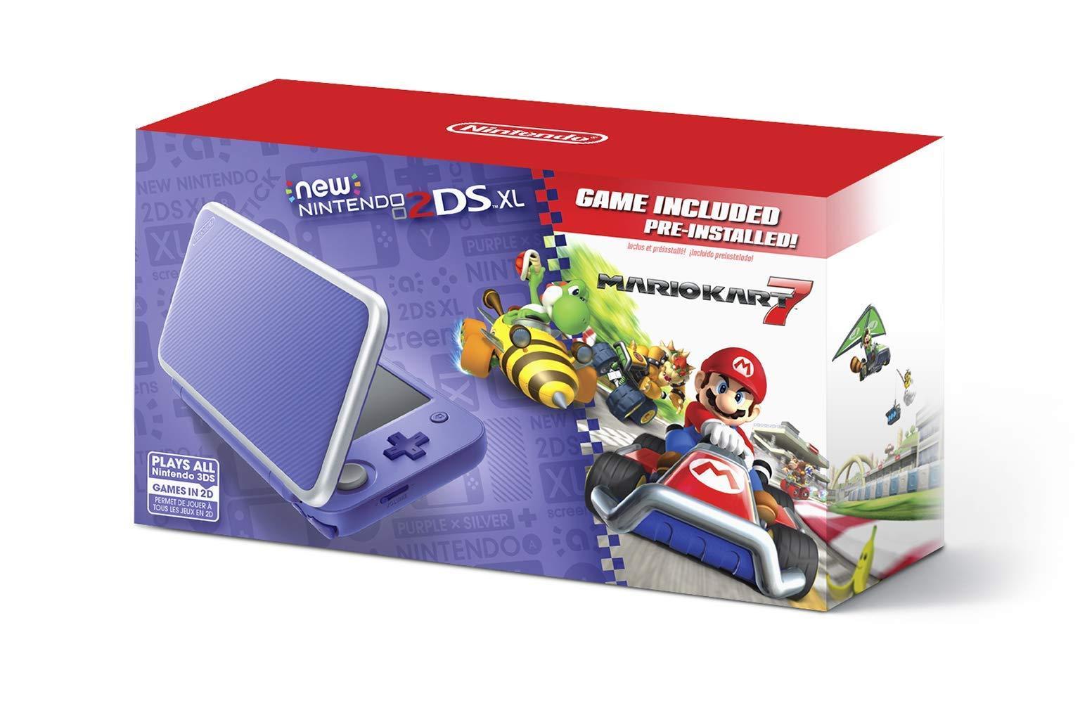 New Nintendo 2DS XL - Purple + Silver With Mario Kart 7 Pre-installed - Nintendo 2DS (Renewed)