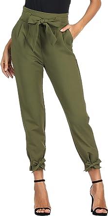 Amazon Com Grace Karin Pantalon Entubado Para Mujer Estilo Casual De Cintura Alta Con Nudo De Mono Al Frente Y Bolsillos Para Trabajo Clothing