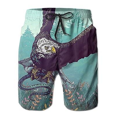 Ncwi Wa Eagle Catch Snake Men Quick Dry Swim Trunks Printed Swimwear Board Shorts Swimsuits