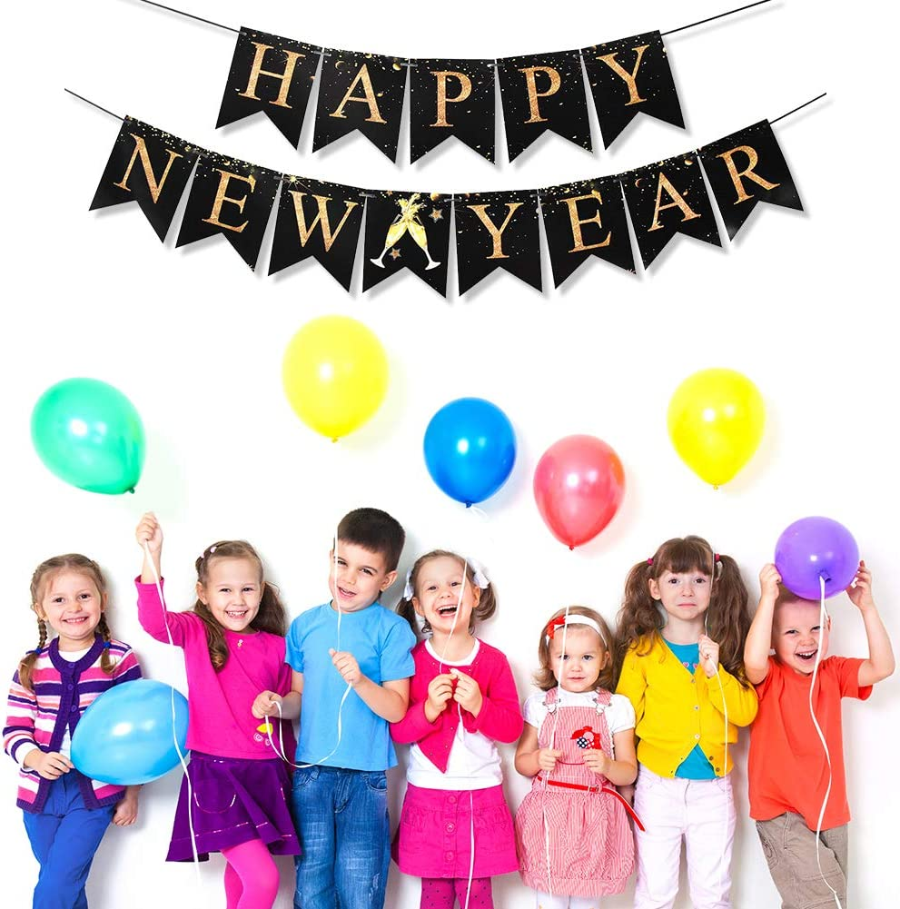 JOTOM Happy New Year Banner Glitter Gold Black 2020 New Year Eve Party Banner Party Supplies New Year Party Photo Background Decorations Happy New Year