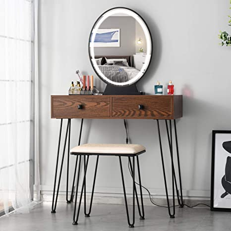 Additional Storage Organizer Cherry 3-Color Touch Screen Dimmable Mirror FREDEES Vanity Set with Lighted Mirror Bedroom Makeup Dressing Table with Cushioned Stool Sturdy Steel Legs