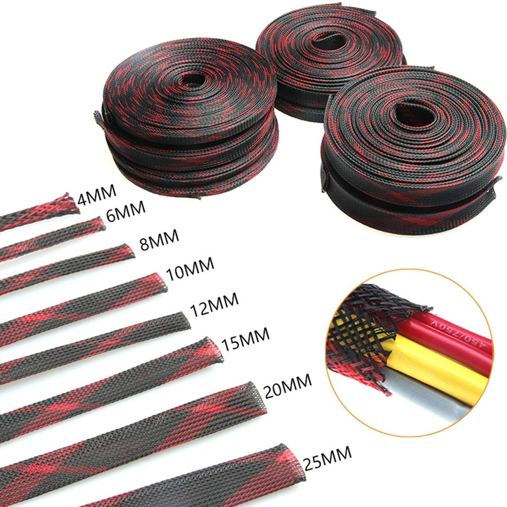10M Red Black 4/6/8/10/12/15/20/25mm Expandable Insulated Cable Sleeve Wrapper Protecting Tight PET Braided Sleeves Wire