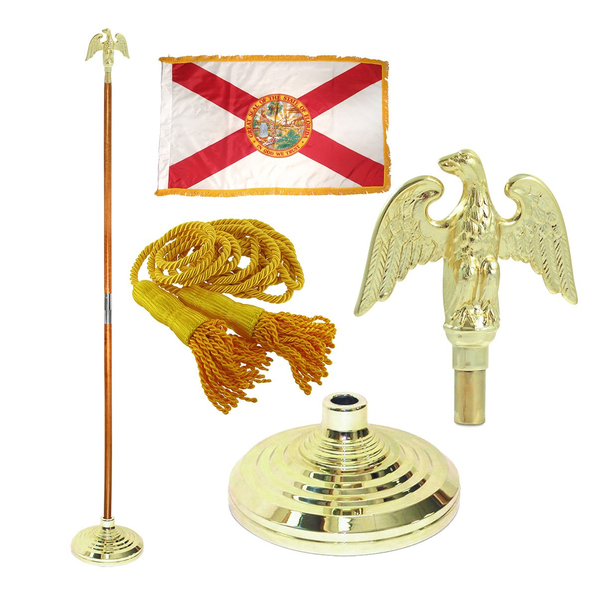 Florida 3ft x 5ft Flag, Flagpole, Base, and Tassel (Metal Eagle, 8 Ft Oak Pole) by US Flag Store