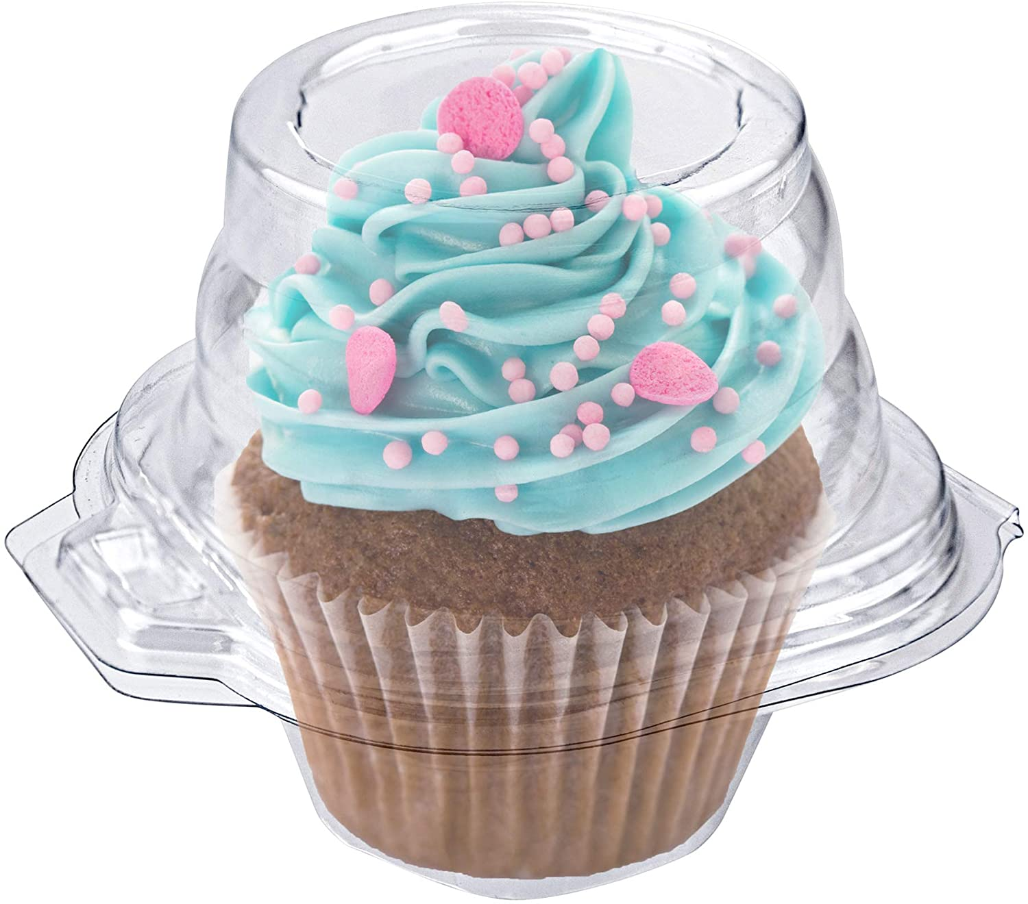 Stock Your Home Individual Plastic Cupcake Containers Disposable with Connected Airtight Dome Lid (50 Count) Clear Single Cupcake Container, BPA Free
