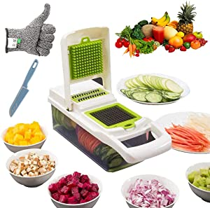 All in 1 Food Fruit Vegetable Onion Chopper Pro, Mandoline Slicer Dicer Cutter for Cheese Veggie Bell Pepper and Potato, with Safety Glove and Knife(White)