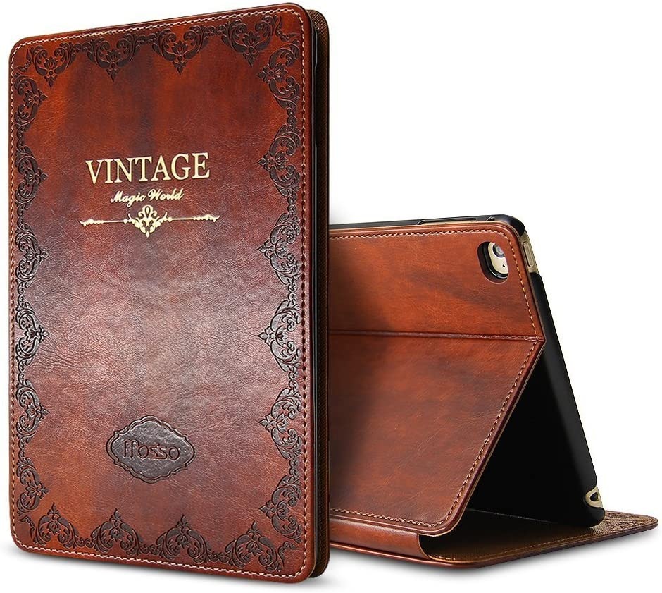 Miniko Apple iPad Air 2 Case Brown, (TM) Modern Vintage Book Style Ultra Slim Premium PU Leather Smart Case Cover with Auto Sleep Wake Function Multi Angle Stand for Apple iPad Air 2