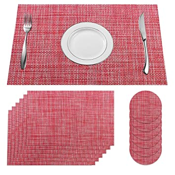 Supersun 6er Set Platzset Rot Abwaschbar Schones Tischset Rot Tisch