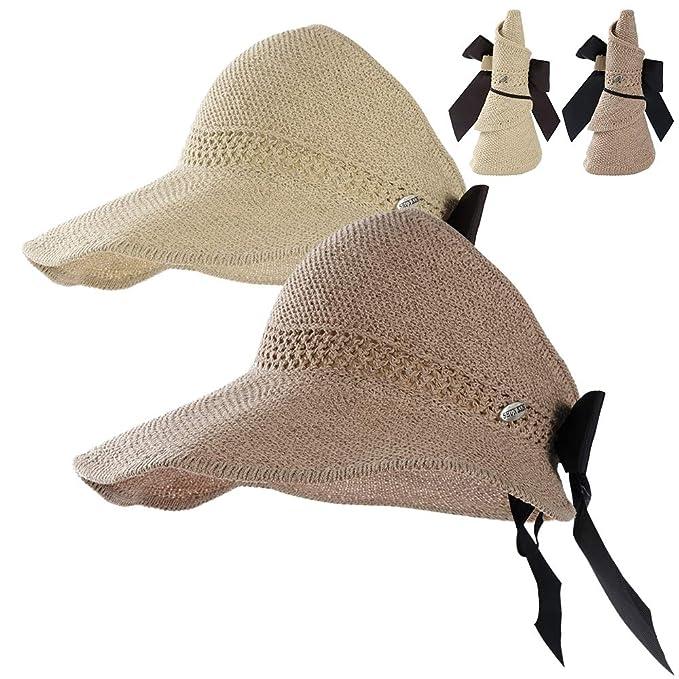 9dd59fc9 Straw Beach Sun Visor Hats for Women Foldable Floppy (Straw-Bk-2 Pack
