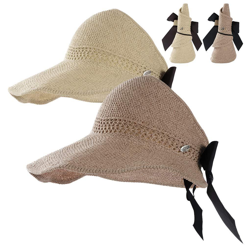 Straw Beach Sun Visor Hats for Women Foldable Floppy (Straw-Bk-2 Pack-Khiki/Beige)