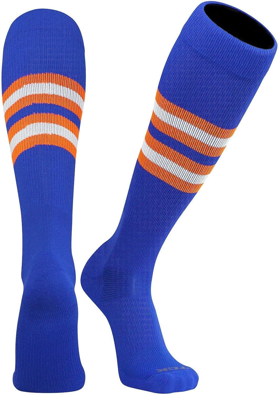 White TCK Elite Baseball Football Knee High Striped Socks D Black Royal Blue