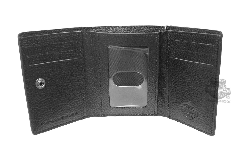 Harley-Davidson Mens Embossed Stripe Black Leather Trifold Wallet 99434-18VM
