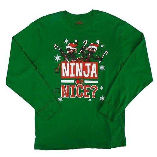 Amazon.com: Holiday Time Boys Green Ninja Or Nice Christmas ...