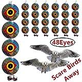 Bird Repellent Discs - Scare Birds Away 48pcs Bird Scarer Eyes Double Sided Keep Birds Away Disks - Keep Birds Woodpecker Pigeon Away from Repellent Disks