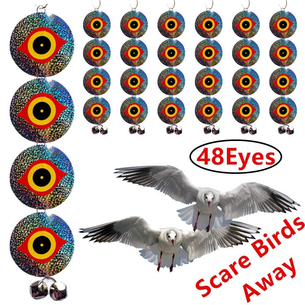 Bird Repellent Discs – Scare Birds Away 48pcs Bird Scarer Eyes Double Sided  Keep Birds Away Disks – Keep Birds Woodpecker Pigeon Away from Repellent