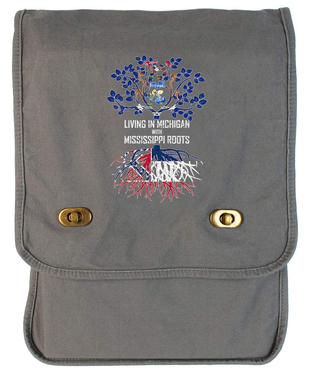 Tenacitee Living In Michigan with Mississippi Roots Grey Brushed Canvas Messenger Bag