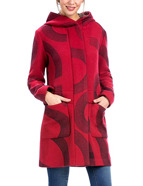 Amazon Para es maria Chaq Mujer Abrigo Desigual 36 carmin Rojo R8AxaA