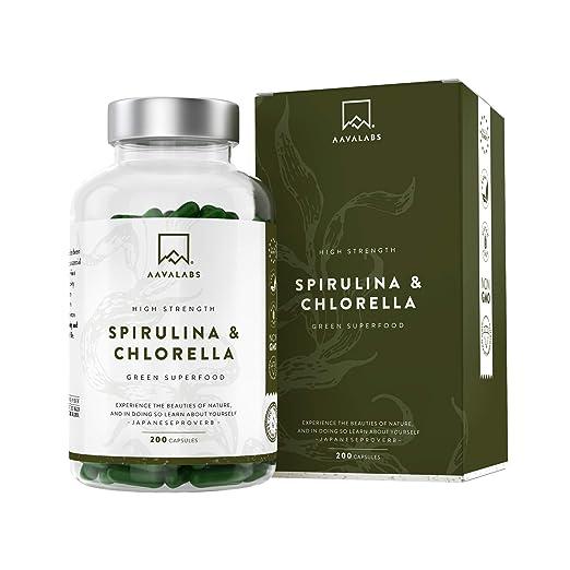 Cápsulas de Espirulina y Chlorella [1800 mg/Dosis Diaria] 200 Comprimidos - Fuente de Vitaminas, Proteínas, Hierro, Fitonutrientes y Calcio - 100% ...