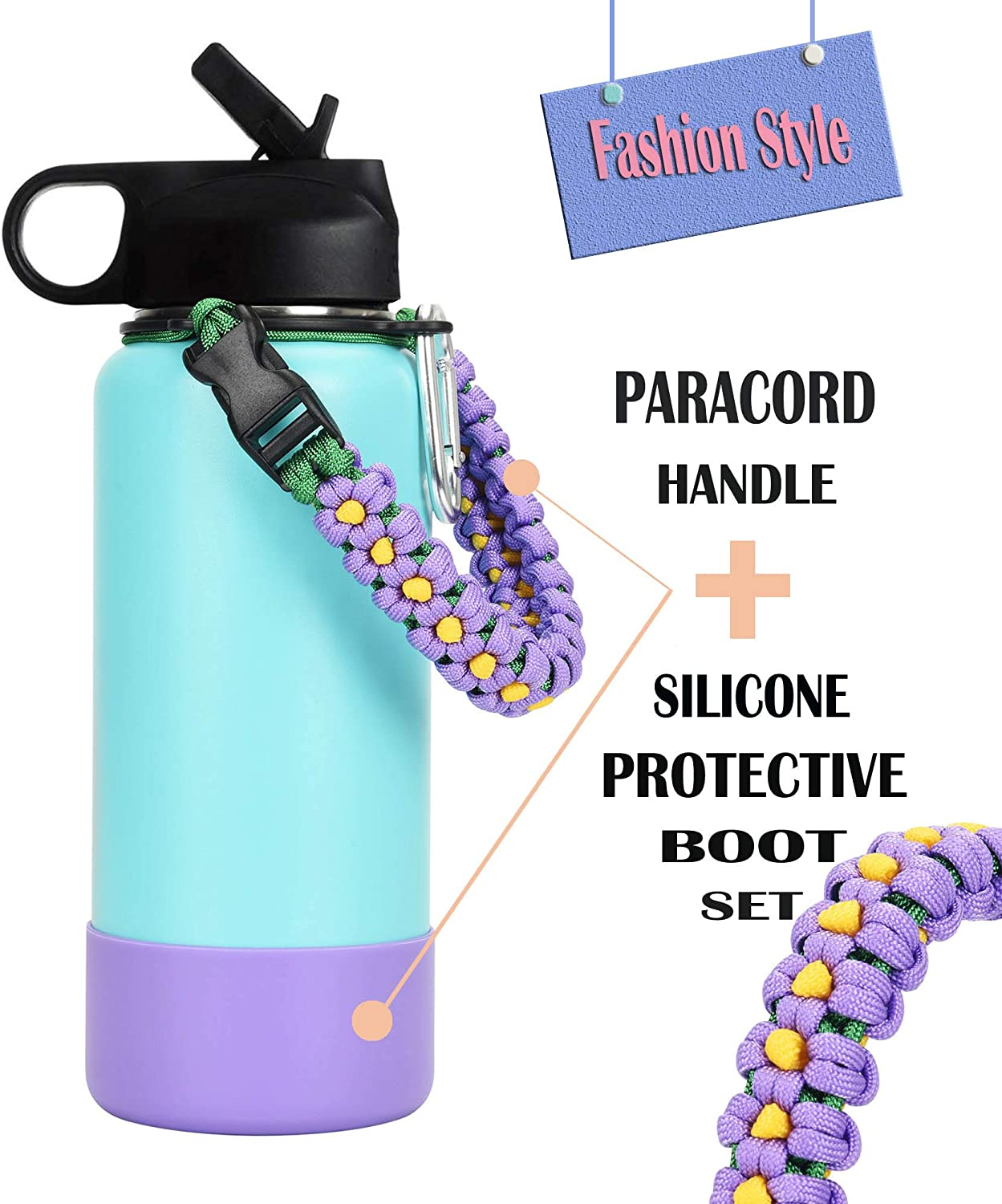 LX-SUNCX Paracord Handle for Hydro Flask water bottle,Fits Wide Mouth Bottles(12oz-40oz),Durable Carrier with Safety Ring and Carabiner,Plus a Nice Super Protective Silicone Sleeve