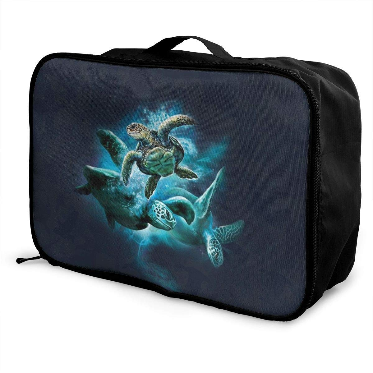 JTRVW Luggage Bags for Travel Portable Luggage Duffel Bag Sea Turtle Collage Travel Bags Carry-on in Trolley Handle