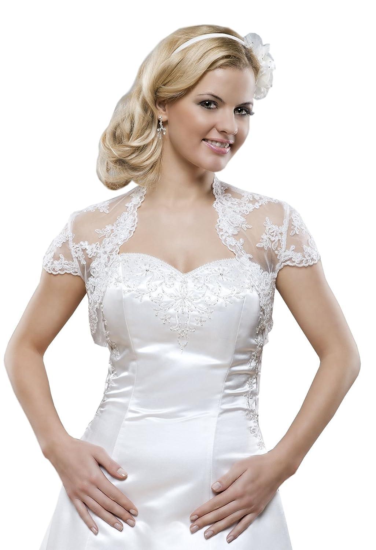 Braut Jacke aus Spitze, Bolero zum Brautkleid, kurze Ärmel: Amazon ...