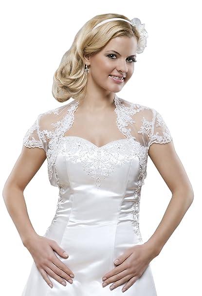 Chaqueta de novia de encaje, Bolero para vestido de novia, manga corta: Amazon.es: Ropa y accesorios