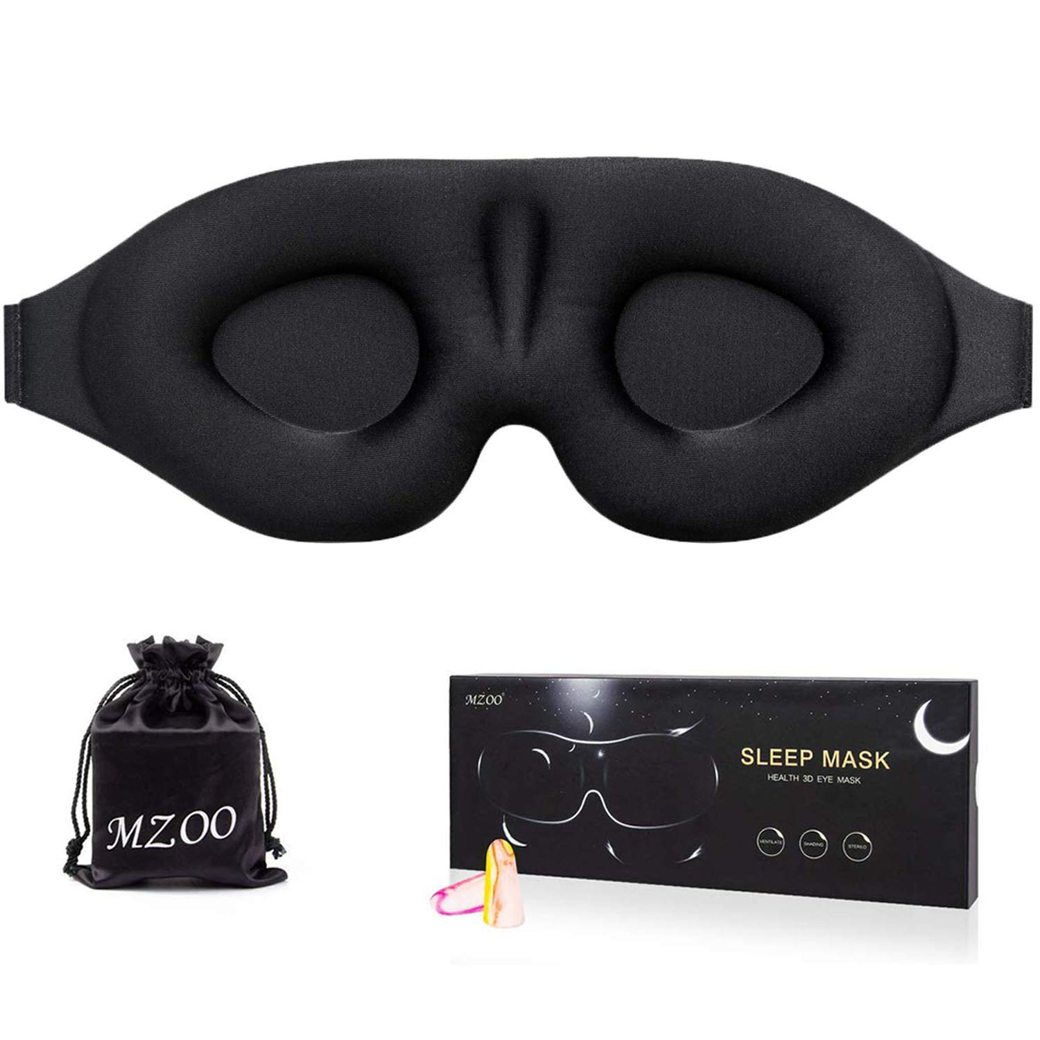 Sleep Eye Mask for Men Women, 3D Contoured Cup Sleeping Mask & Blindfold with Ear Plug Travel Pouch, Concave Molded Night Sleep Mask, Block Out Light, Soft Comfort Eye Shade Cover for Yoga Meditation by MZOO