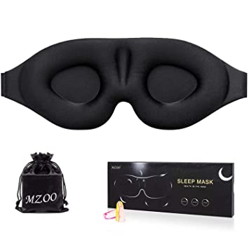 Sleep Eye Mask for Men Women, 3D Contoured Cup Sleeping Mask & Blindfold  with Ear Plug Travel