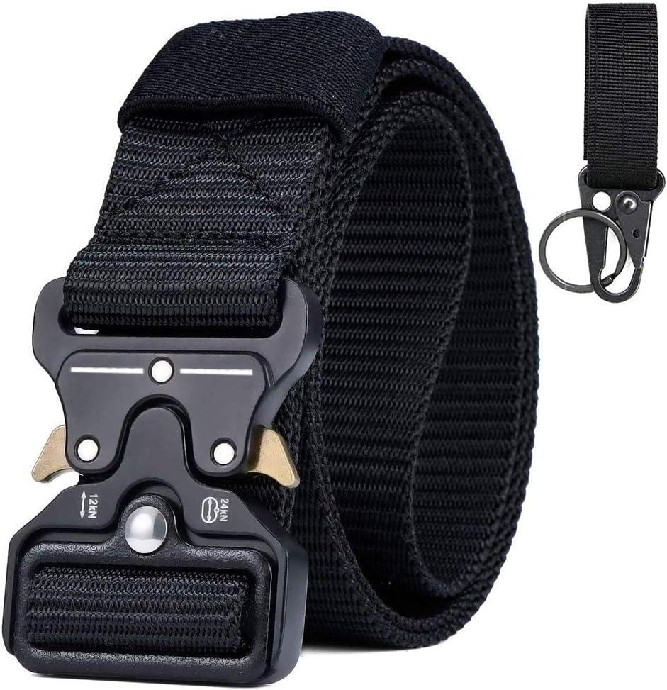 ZAYOO Cinturón táctico Cintura Militar Negra Hebilla de Cobra de Metal de liberación rápida para Entrenamiento de Caza Ejército Corriendo