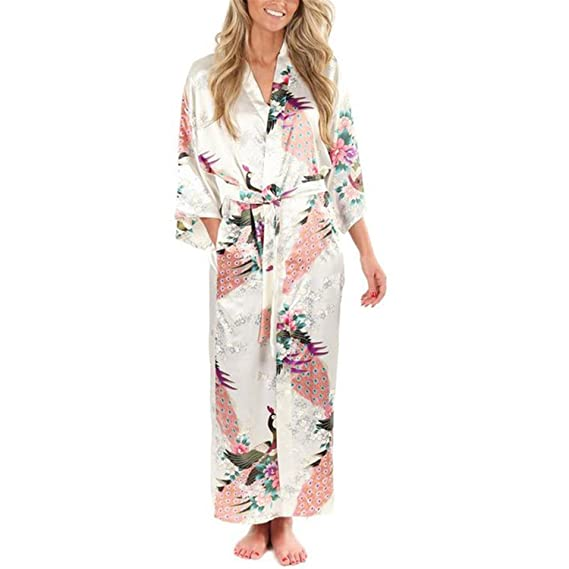 Samuel Roussel Women Satin Kimono Robes Long Nightgown Vintage Printed Night Gown at Amazon Womens Clothing store:
