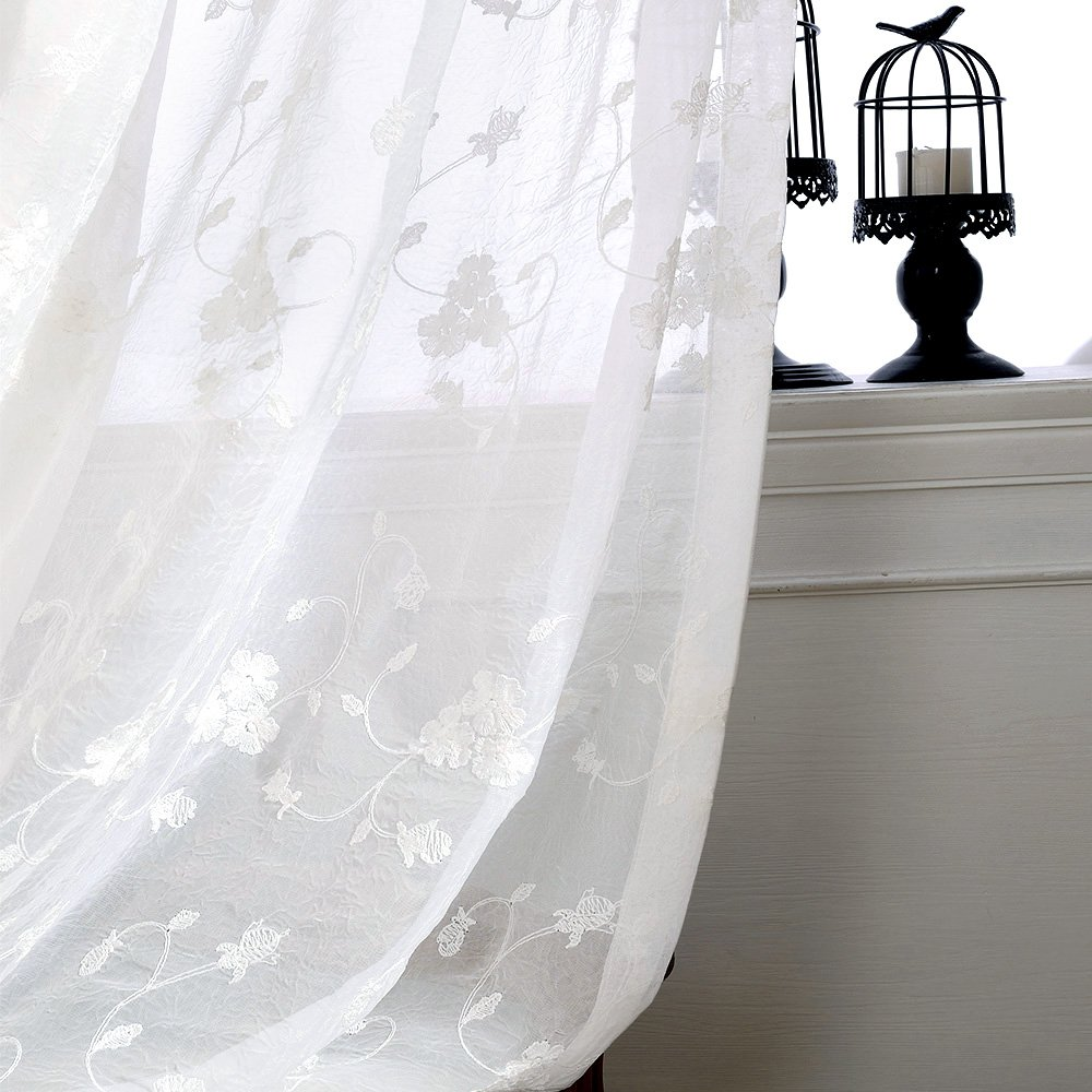 Floral Embroidered Sheer Curtains for Living Room Rustic Crushed Sheer Window Treatments